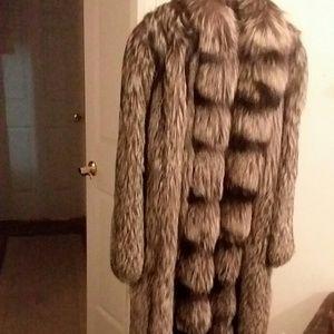 Full length, genuine fox fur coat